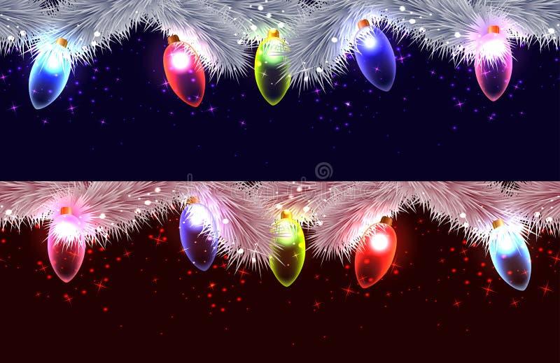 Confini senza cuciture dei rami differenti dell'albero di Natale, illustrazione di stock