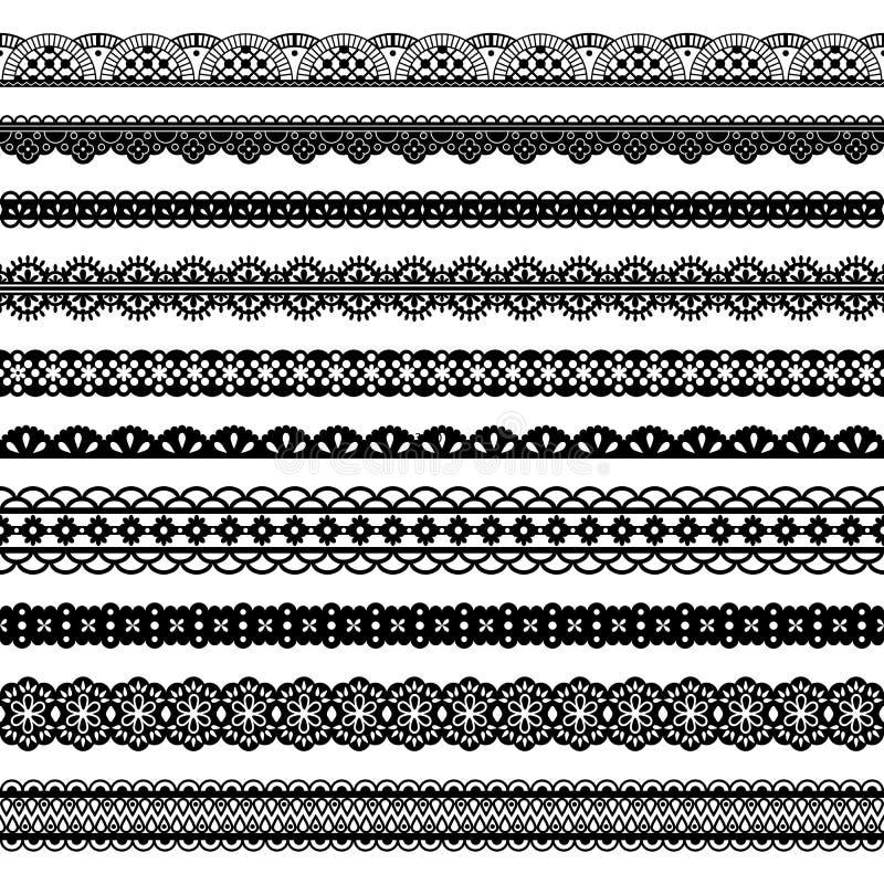 Confini senza cuciture del nero orizzontale dei pizzi della raccolta illustrazione di stock