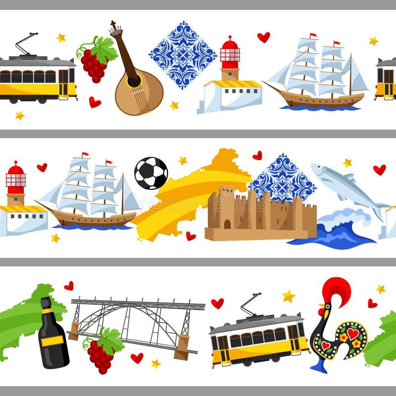 Confini senza cuciture del Portogallo Simboli ed oggetti tradizionali nazionali portoghesi illustrazione di stock