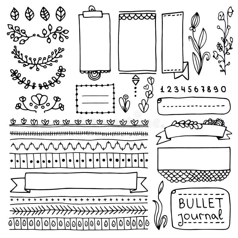 Confini svegli frames6 ed elementi di progettazione floreale per il pianificatore royalty illustrazione gratis