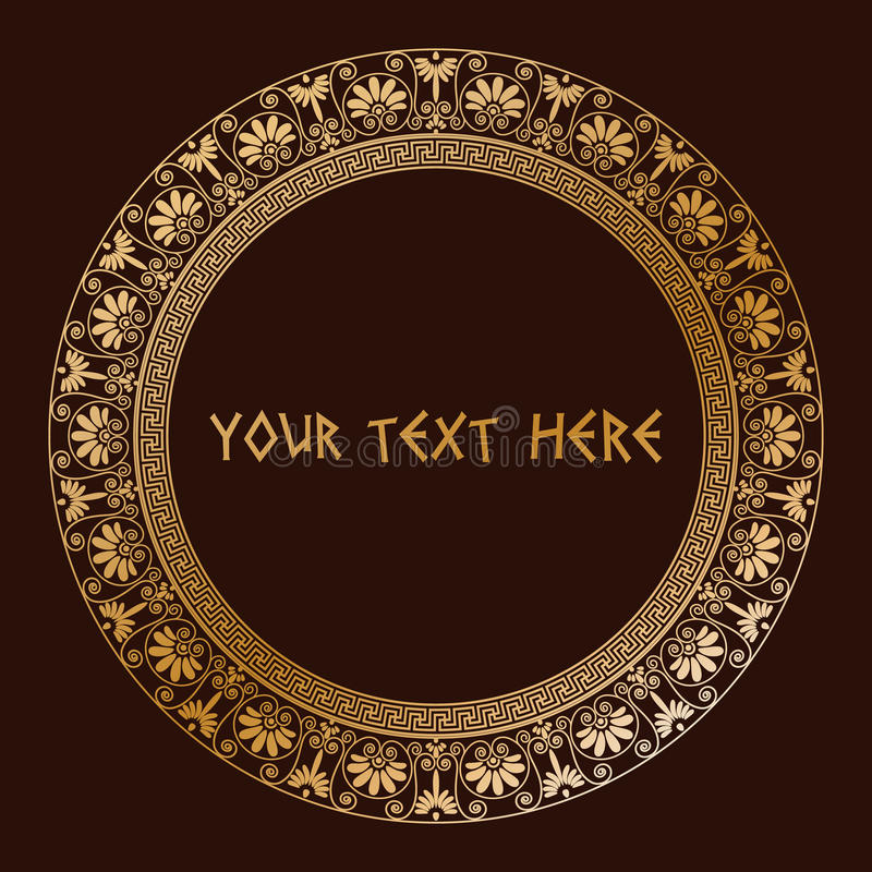 Confini tradizionali greci nel colore dorato illustrazione di stock