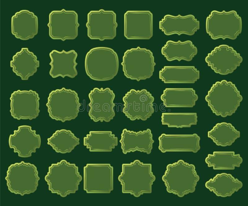 Confini verdi e strutture isolati su fondo verde scuro royalty illustrazione gratis