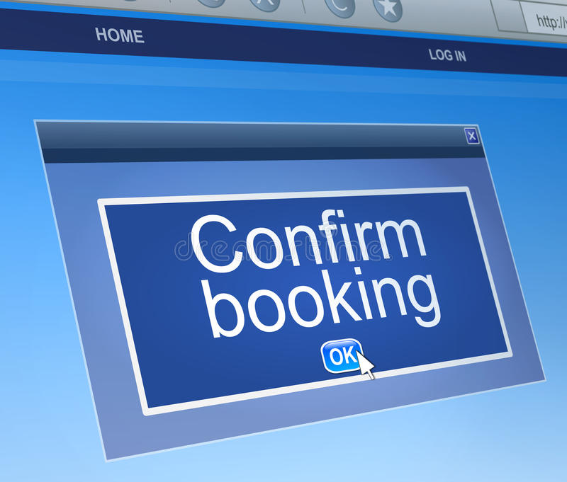 Confirm booking concept. Illustration depicting a computer dialogue box with a confirm booking concept royalty free illustration
