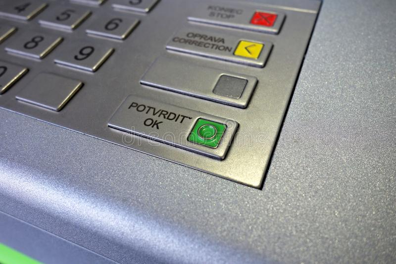 Confirm button. On the ATM keyboard, macro royalty free stock photo