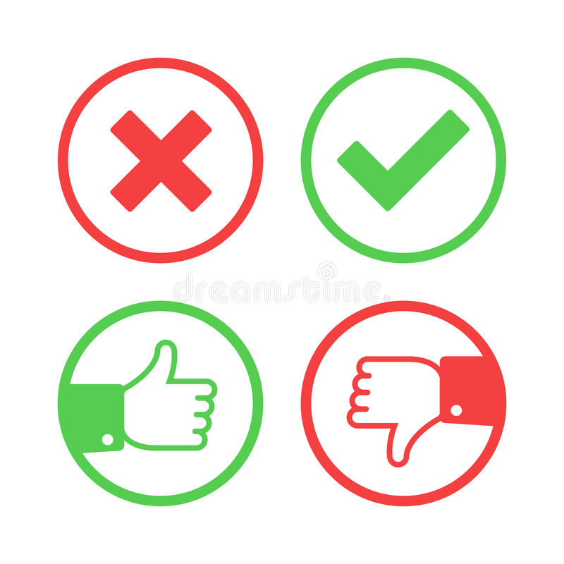 Confirm and reject icons. vector illustration
