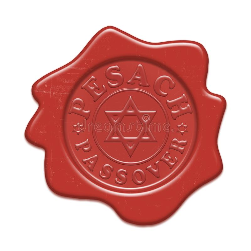 Confirm and save. Wax red seal isolated on a white background. Text inside dedicated to Passover holiday Pesach in Hebrew - great Jewish holiday. Magen David vector illustration