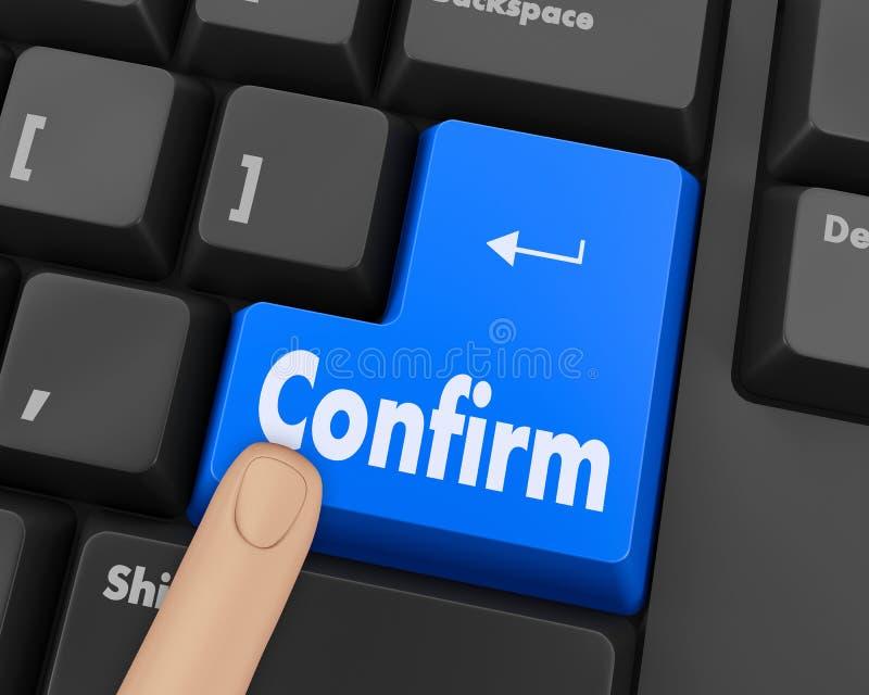 Confirm. Text confirm button 3d render stock illustration