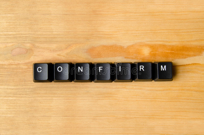 Confirm word. With keyboard buttons stock photo