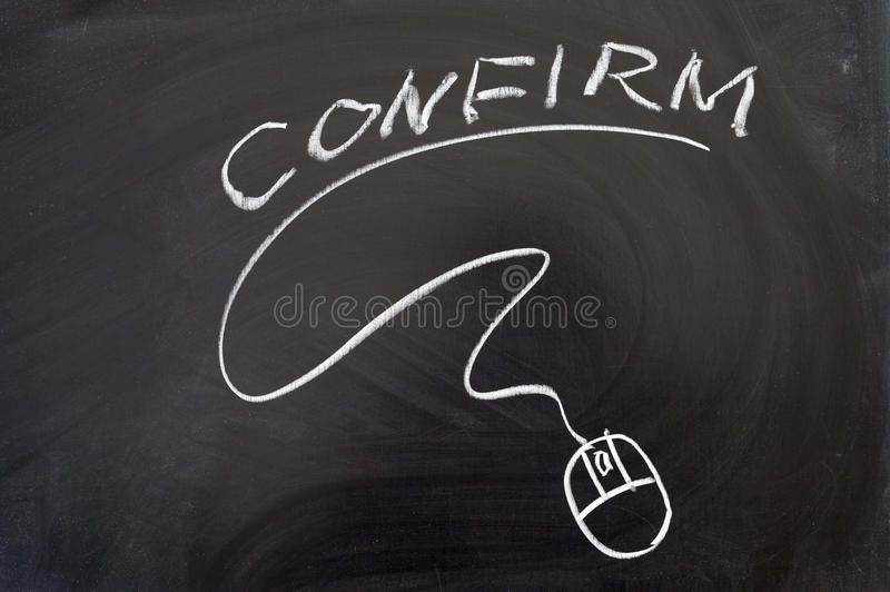 Confirm word and mouse sign. Drawn on the blackboard stock image