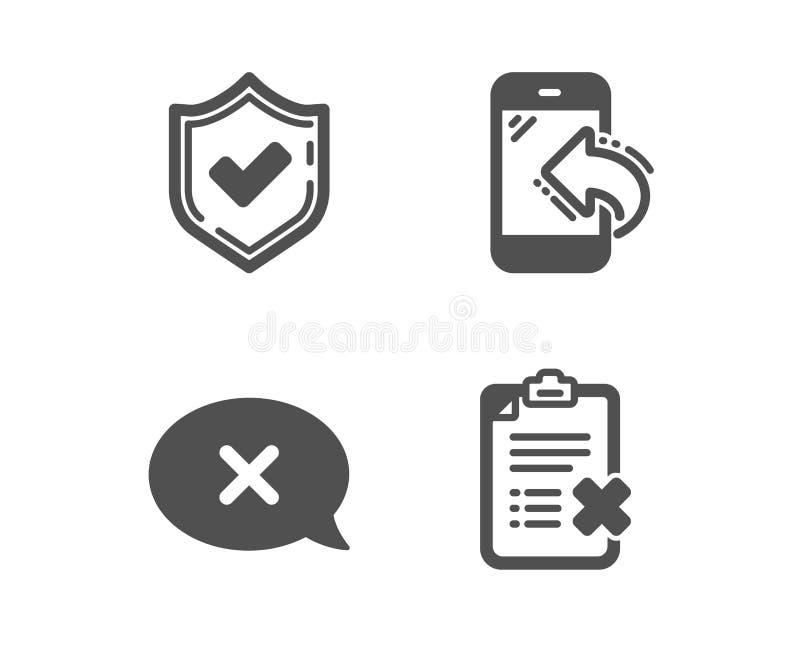 Confirmado, rejeição e ícones da chamada entrante Sinal da lista de verifica??o da rejei??o Vetor ilustração royalty free