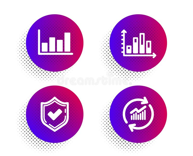 Confirmed, Diagram graph and Report diagram icons set. Update data sign. Vector. Confirmed, Diagram graph and Report diagram icons simple set. Halftone dots royalty free illustration