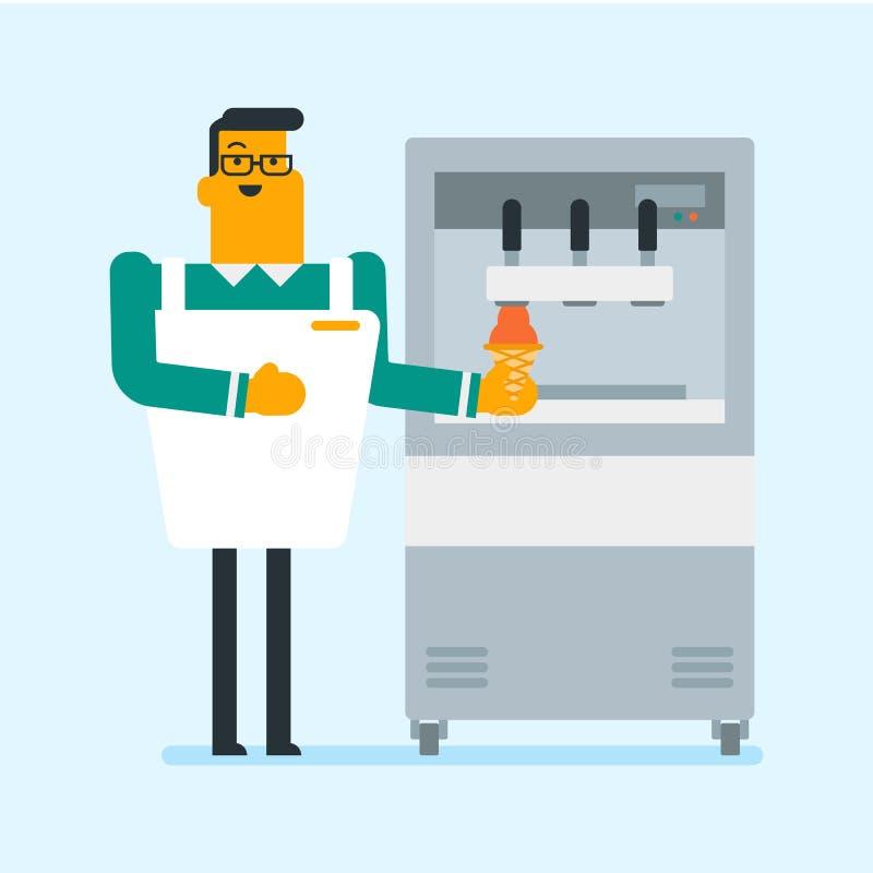 Confiseur produisant la crème glacée à l'usine illustration de vecteur