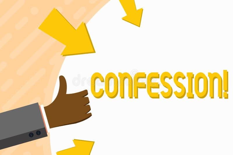Confissão do texto da escrita da palavra Conceito do negócio para a mão da afirmação da declaração do Divulgence da divulgação da ilustração royalty free