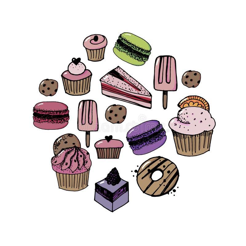 Confitería del sistema del vector e iconos de los dulces Postre, piruleta, helado con los caramelos, macaron y pudín Buñuelo y ca libre illustration