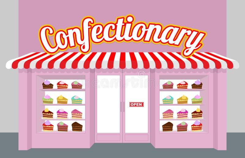 Confitería Escaparate con las tortas Pedazos de torta en una placa libre illustration