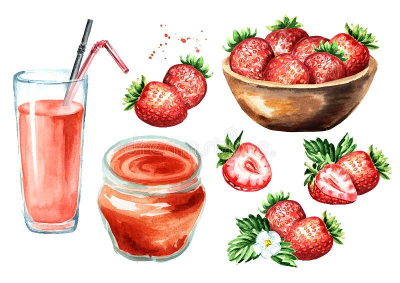 Confiture de fraise, verre de jus, cuvette avec des baies, fleur et feuilles réglées Illustration tirée par la main d'aquarelle,  image libre de droits