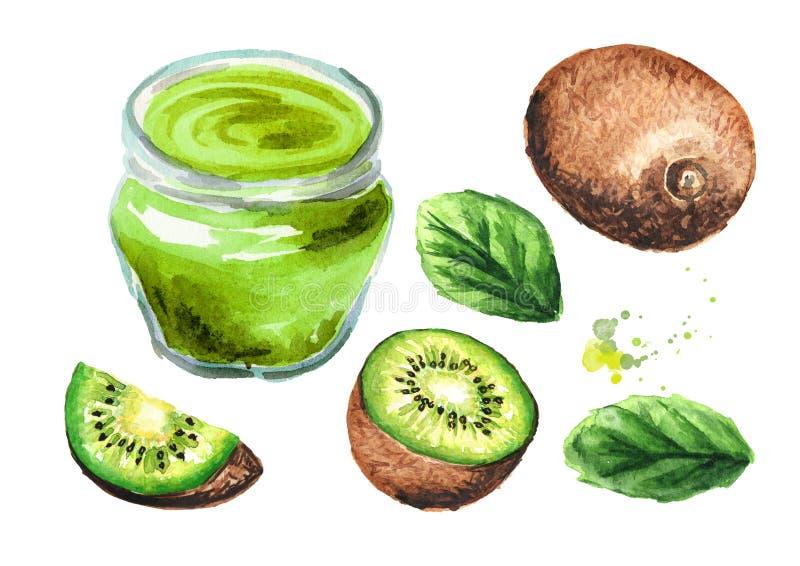 Confiture de kiwi et ensemble délicieux de fruits frais Illustration tirée par la main d'aquarelle d'isolement sur le fond blanc illustration libre de droits