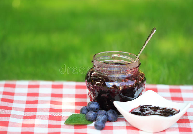 Confiture de myrtille photographie stock