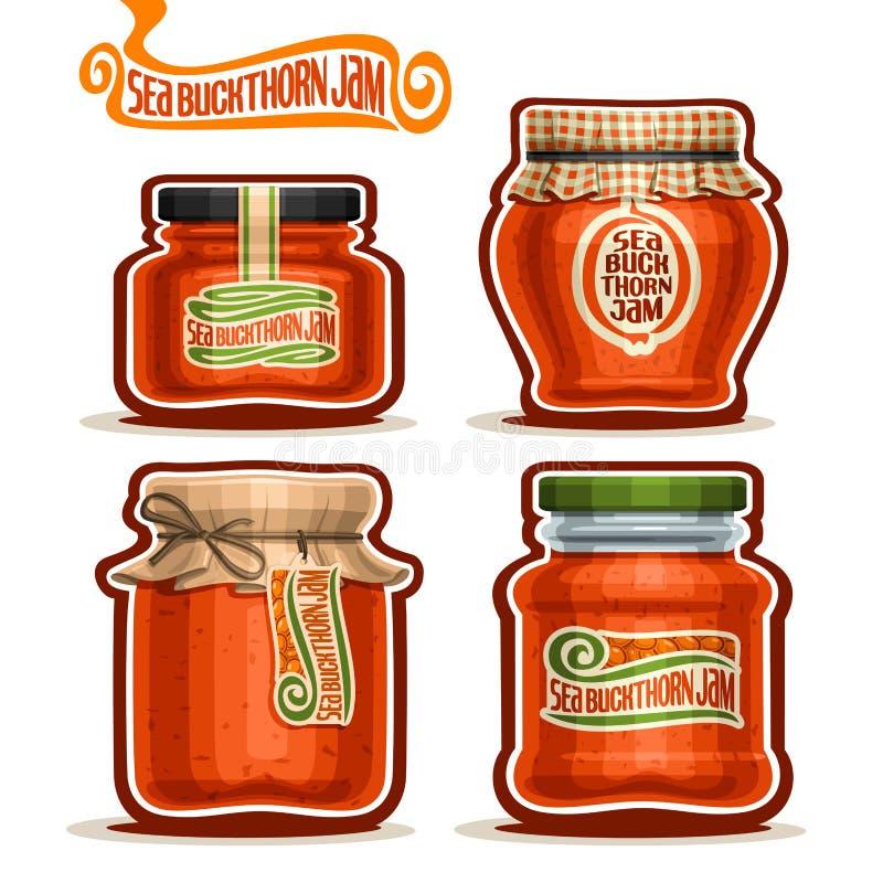 Confiture de Seabuckthorn de logo de vecteur dans des pots illustration libre de droits