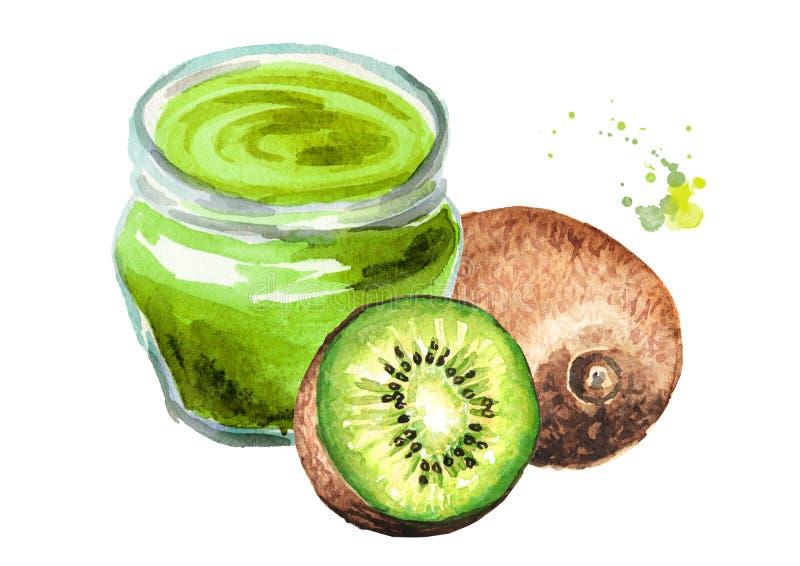 Confiture et fruits frais délicieux de kiwi Illustration tirée par la main d'aquarelle d'isolement sur le fond blanc illustration de vecteur