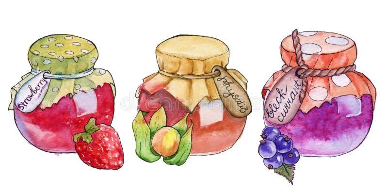 Confiture faite maison dans un pot watercolor image libre de droits
