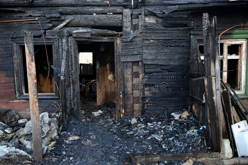 conflagration Elementos da casa queimada fotografia de stock
