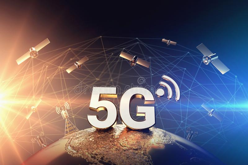Conflict around 5G network illustrated with closeup on the globe and red and orange flare. War on 5G network concept. 3D rendering stock illustration