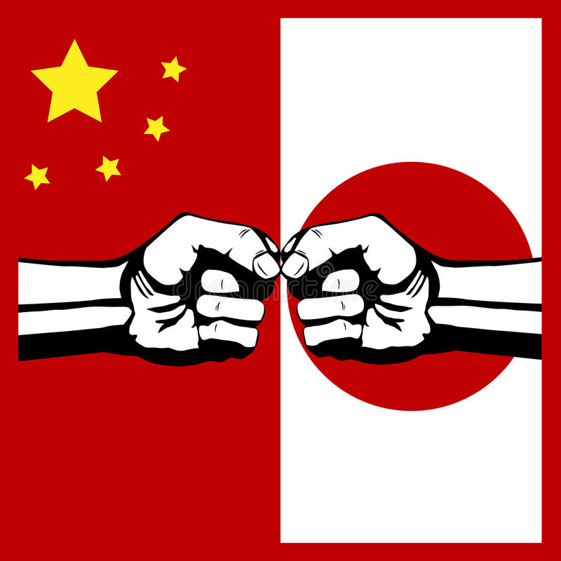 Conflict China and Japan. Flag China and Japan stock illustration