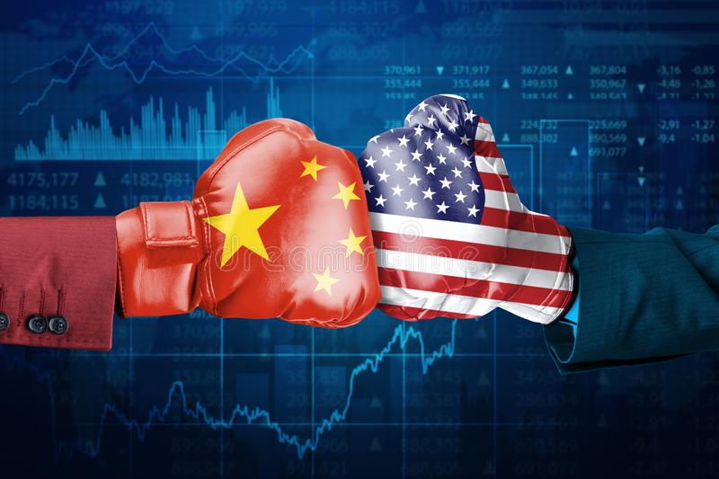 Conflict between China and USA stock illustration