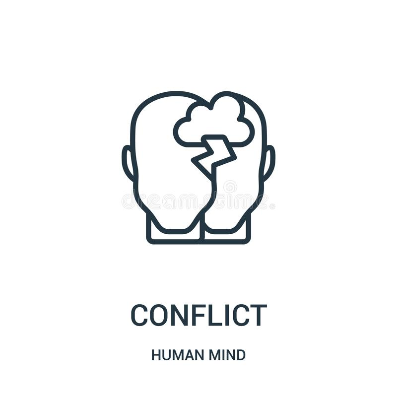 conflict icon vector from human mind collection. Thin line conflict outline icon vector illustration. Linear symbol for use on web vector illustration