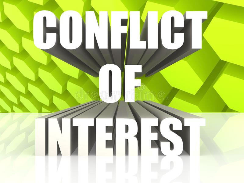 Conflict of Interest. Rendered Conflict of Interest with white background royalty free illustration