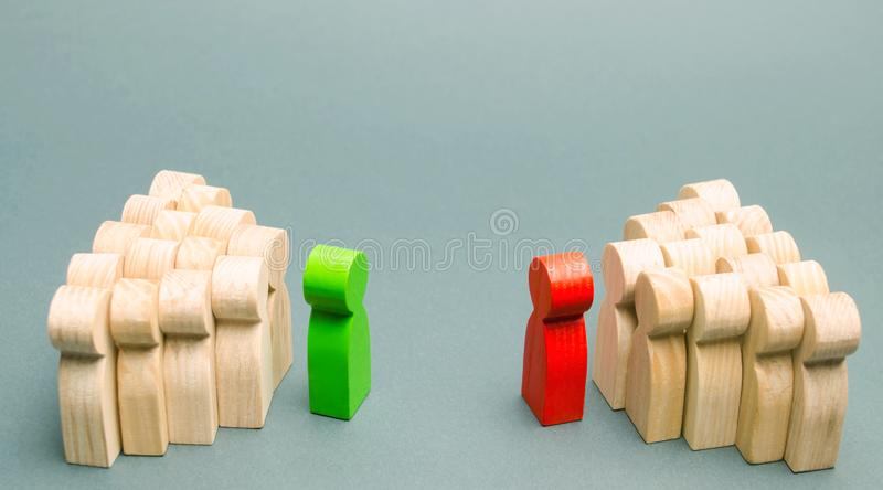 The conflict between the leaders of the two teams. Business competition. Search for compromises. People in the discussion. Conflict among employees. Two stock photos