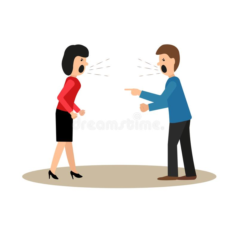 Conflict. A man and a woman are arguing, screaming. Vector illustration in flat style stock illustration