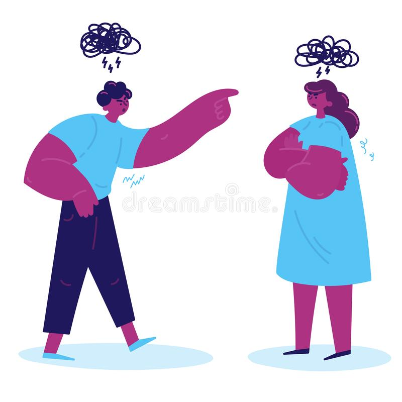 The conflict between a man and a woman vector illustration