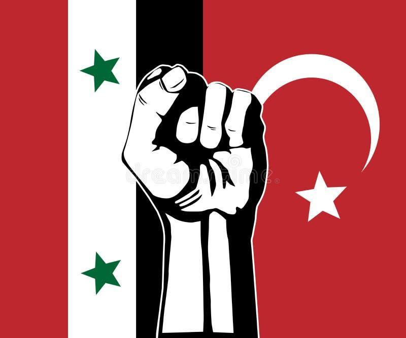 Conflict mellan Syrien och Turkiet vektor illustrationer
