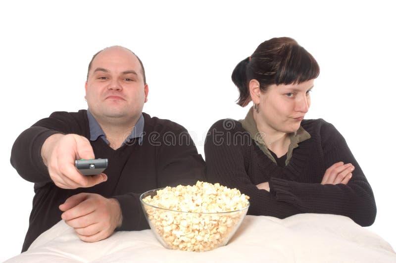Conflict over het TV- programma stock foto