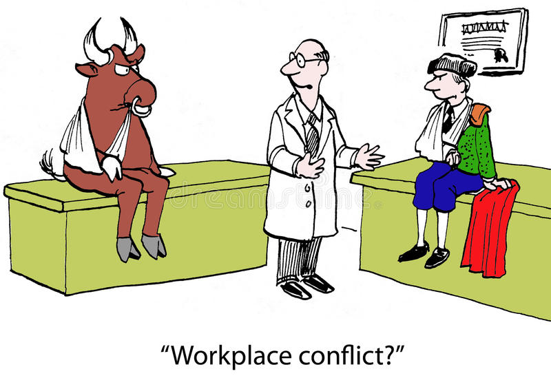 Conflict resolution. The doctor asks, Workplace conflict stock illustration