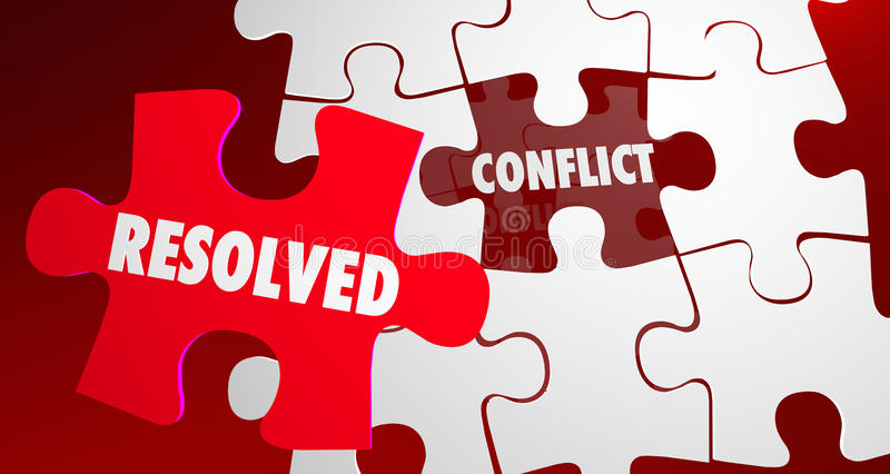 Conflict Resolved Fight Resolution Puzzle Piece royalty free illustration