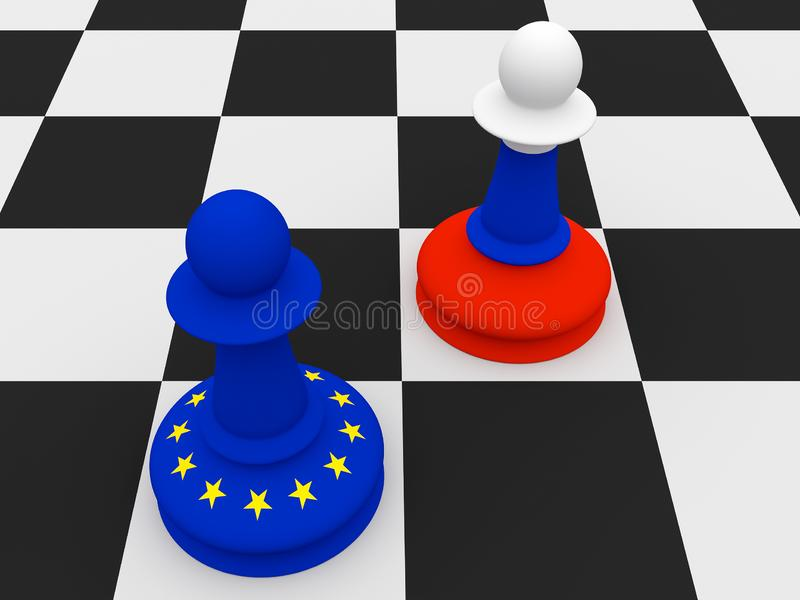 Conflict Between Russia And EU: Russian and EU Flag Chess Pawns, illustration vector illustration