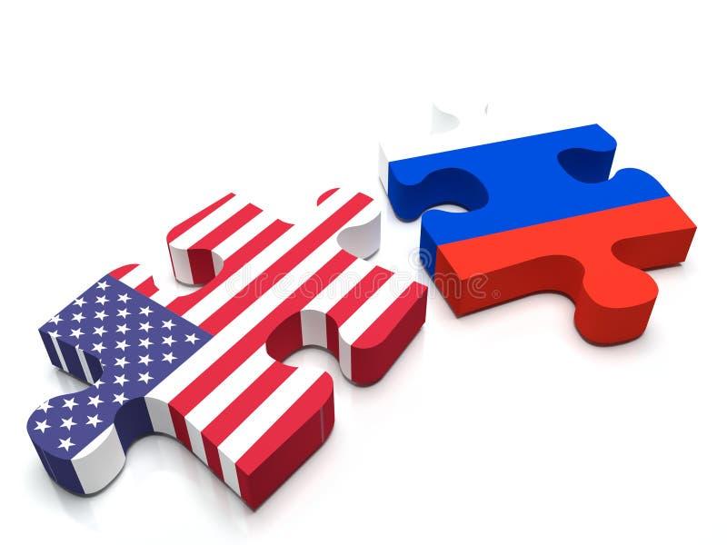 Conflict Russia vs US vector illustration