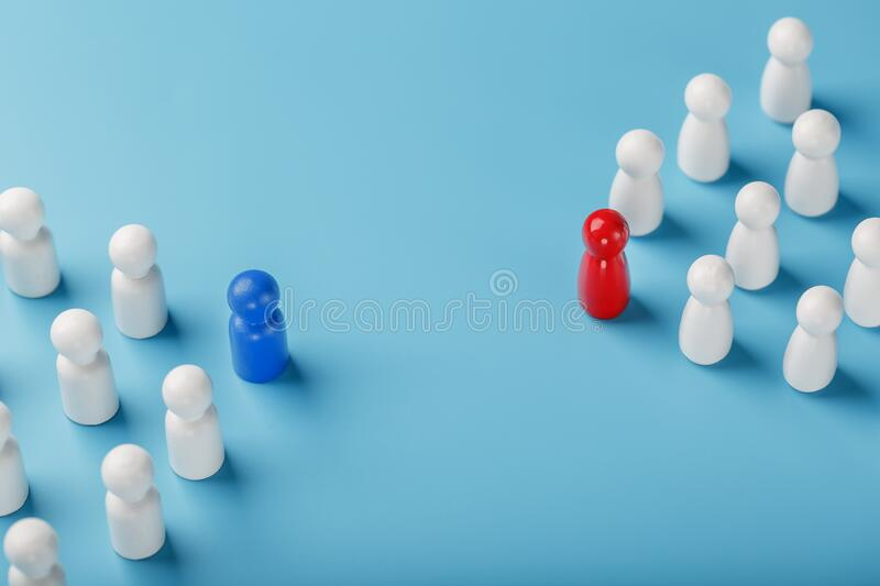 The conflict between two companies and a business, the rivalry of Leaders in blue and red leads a group of white employees to. Compete, Staff recruitment. A lot royalty free stock photos
