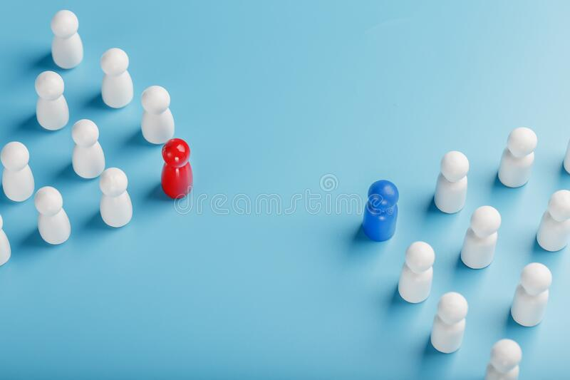 The conflict between two companies and a business, the rivalry of Leaders in blue and red leads a group of white employees to. Compete, Staff recruitment. A lot royalty free stock photo