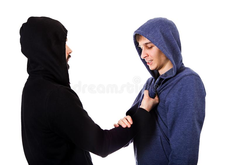 Conflict of Two Guys. Isolated on the White Background royalty free stock images