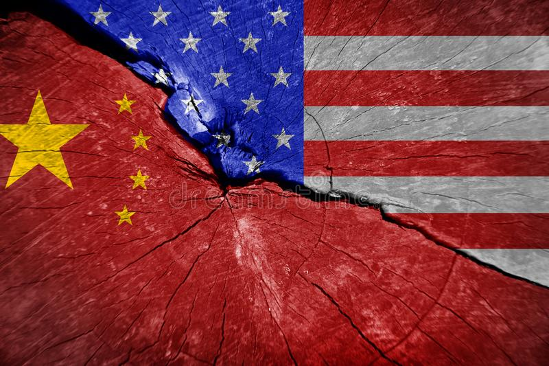 The conflict between the USA and China. The economic war between China and the U.S royalty free illustration