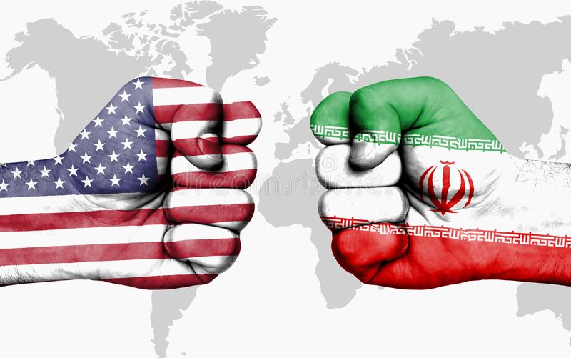 Conflict between USA and Iran - male fists stock images