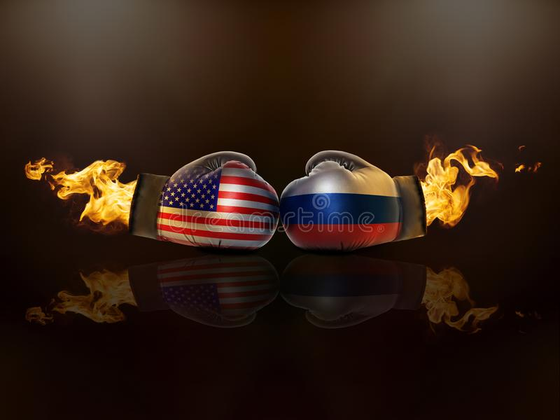 Conflict between USA and Russia escalates royalty free stock photo
