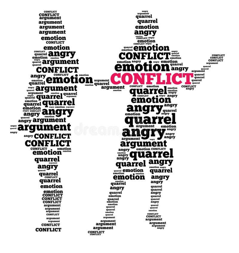 Conflict in woordwolk royalty-vrije illustratie