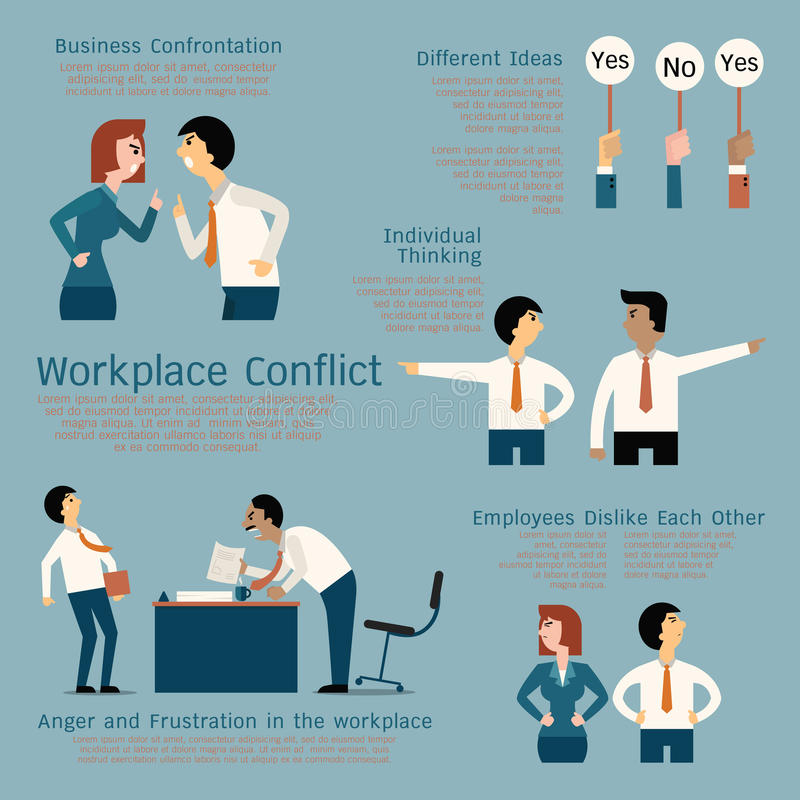 Conflict at workplace stock illustration