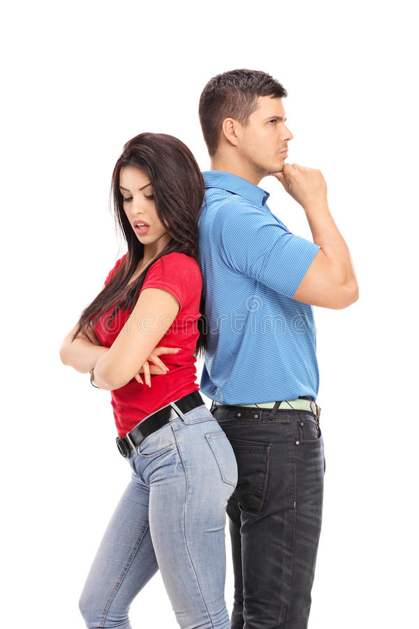 Conflicted couple not talking to each other royalty free stock image