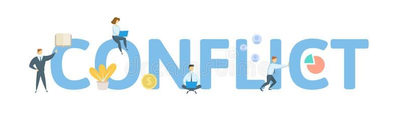 Conflicto Concepto con la gente, las letras y los iconos Ejemplo plano del vector Aislado en el fondo blanco ilustración del vector